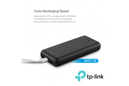 TP-Link TL-PB20000 - 20000mAh Li-Polymer Power Bank with 2.1A Turbo Recharge (2 Years Warranty)