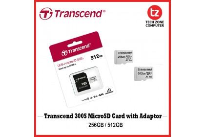 Transcend microSDXC 300S Memory Card with Adaptor UHS- I, U3, V30, A1, 4K, Full HD ( 256GB / 512GB )