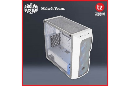 Cooler Master MasterBox TD500 ARGB Mesh White E-ATX Case, 3 ARGB Fans, Polygonal Mesh 3D Contour Front Panel, Crystalline Tempered Glass, Dual 360mm Radiator Support