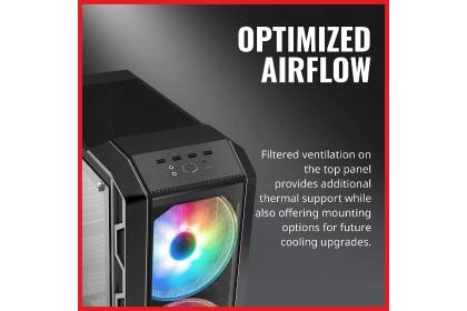 Cooler Master MasterCase H500 ARGB E-ATX Case, Dual 200mm ARGB Fans, Interchangeable Mesh and Transparent Front Panel