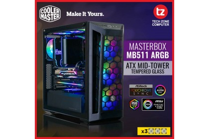 Cooler Master MasterBox MB511 ARGB E-ATX Case, 3 ARGB Fans, Fine Mesh Front Panel, Tempered Glass Side Panel, Dual 360mm Radiator Support