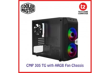 Cooler Master CMP 305 ARGB Micro-ATX Case 2 ARGB Fans DarkMirror Front Panel Tempered Glass Side Panel Top 240mm Radiator Support