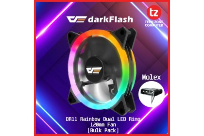 darkFlash DR11 Rainbow LED Dual Ring RGB 120mm Fan (Bulk Packing)