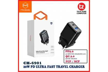 Mcdodo 20W Fast Charger QC3.0 USB PD Turbo Charger For iPhnoe Huawei Samsung Xiaomi Travel Wall Adapter ( CH-6901 )