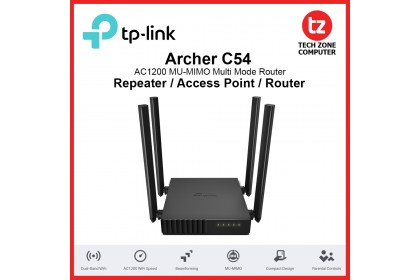 TP-Link Archer C54 AC1200 MU-MIMO Dual Band Multi Mode Wireless WiFi Extender / Access Point / Router