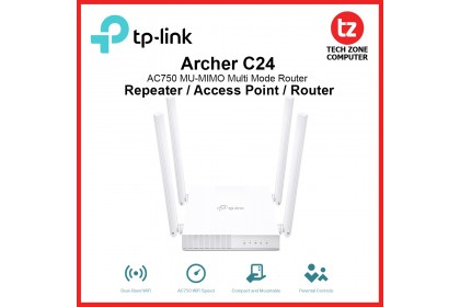 TP-Link Archer C24 AC750 MU-MIMO Dual Band Multi Mode Wireless WiFi Extender / Access Point / Router