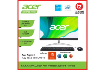 ACER Aspire All In One C22-1650-1115G4W10 (AIO PC) (MS OFFICE STUDENT) | (Core i3 / 4GB / 256GB SSD / WIN 10)