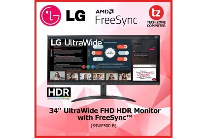 "LG 34"" 34WP500B (34WP500-B) Ultra Wide Full HD HDR 10 IPS Monitor with Free-Sync ( 34WP500 )"